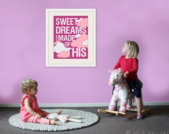 Baby nursery decor. Sweet Dreams print nursery art print. Kids room decor. Inspirational wall art. #makeforgood Art print by WallFry