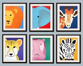 Kids art for children. Kids decor. Jungle nursery art, safari animal nursery wall art. Baby nursery wall decor. SET OF Any 3 Safari prints