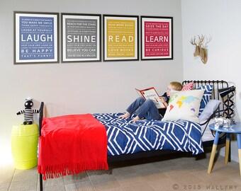 Wall art for teens. Teenager room decor. Tween kids industrial decor. Teen boy artwork. Prints for boys room. Set of 4 prints by WallFry