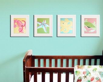Baby nursery art. Sea creature prints, beach art for kids. Children art marine life. bathroom prints. SET OF ANY 4 prints by wallFry