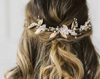 Gold Hair Vine, Flower Hair Vine, Bridal Hair Vine, Bridal Headpiece, Gold Wedding Hair piece, Gold Bridal Headpiece -  VIGNE de FLEUR