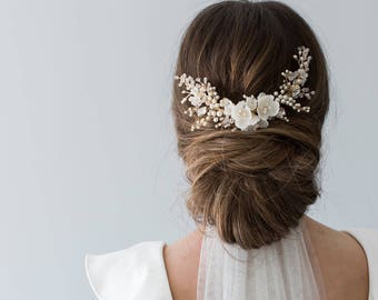 Wedding Headpiece, Bridal Hair Comb, Floral Bridal Headpiece, Beaded Bridal Headpiece, Floral Bridal Comb, Flower Hair Piece - HYACINTH