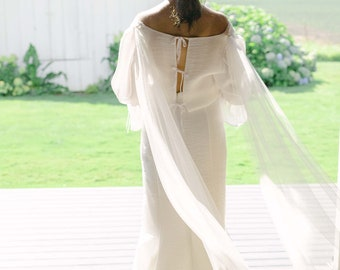 GWENDOLYN Tulle Wings, Bridal Cape, Detachable tulle wings, soft tulle shoulder wings, cape veil