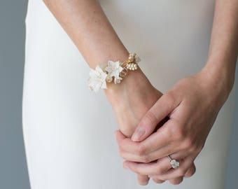 Bridal Bracelet, Bridal Cuff Bracelet, Floral Wedding Bracelet, Beaded Bracelet, Beaded Cuff, Floral Bracelet - MEADOW SWEET