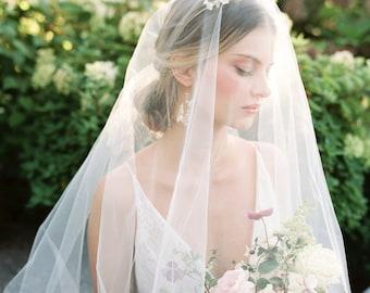 CASSANDRA   Wedding Veil with Blusher, Bridal Veil with Blusher, Cathedral Wedding Veil, Classic 2 tier, Sheer Wedding Veil