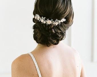 VIOLA Silver Blush Bridal Comb, Wedding Hair Comb, Bridal Hair Comb, Blush Bridal Comb, Silver Bridal Comb, Silver Wedding Hair Comb