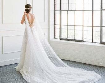 MORGAN Draped Wedding Cape, Bridal Cape, Draped Bridal Cape, Detachable cape, soft tulle shoulder cape, cape veil, wedding coverup