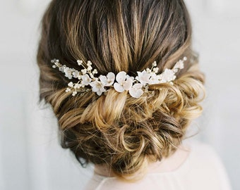 VIOLETTA, Delicate Floral Bridal Comb, Bridal Headpiece, Wedding Headpiece, Wedding Hair Piece, Wedding Hair Clip, Delicate Bridal Hair Vine