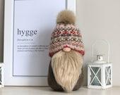 Large Scandinavian Tomte Gnome Nisse, Khaki,Olive Green, Pink, Fairisle Knit, Wool Hat, Hygge Home -New Home,