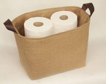 Hessian Burlap Toilet Roll Storage Basket Bucket, Eco Rustic Jute Storage    UK   Bathroom, Toilet Paper Bin, Shelf Basket, Tidy, Organiser