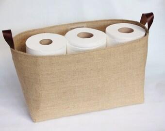 Hessian Burlap Toilet Roll Storage Basket Bucket, Eco  Rustic Jute Storage - UK - Bathroom, Toilet Paper Bin, Shelf Basket, Tidy, Organiser