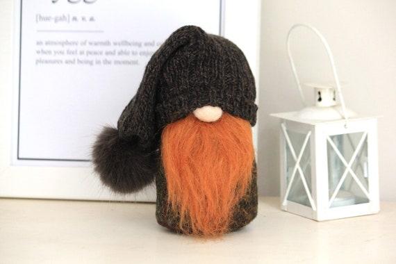 Harris Tweed Fir Green Scandinavinan Tomte Ornament with Ivory Bushy Beard