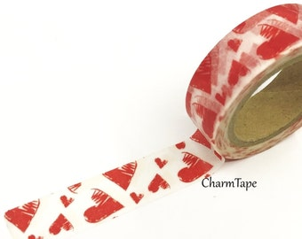 Red Hearts Washi Tape 15mm x 10m WT391