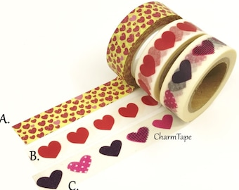 Hearts Washi Tape 15mm x 10 meters