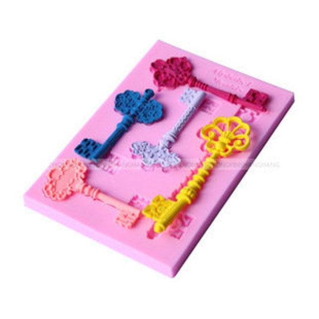 Vintage Keys Silicone Mold -food mold / uv resin molds D101 (5 cavity)
