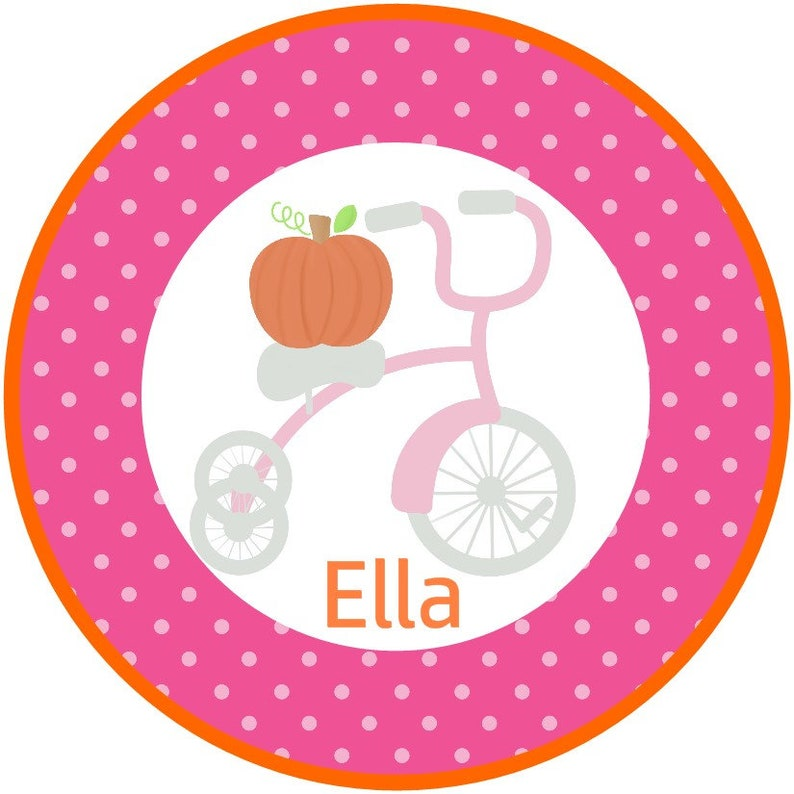 Iron on Decal Halloween colorful tricycle easy to apply at Giggles to Go Sweet Fall harvest iron on Polka dot