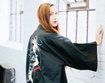 DAENERYS | Vintage Black & Gold Embroidered Dragon Kimono