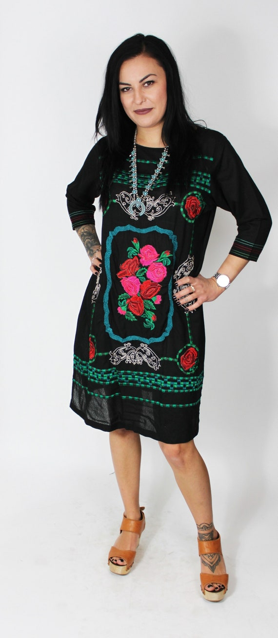 ROSA | 1980s Embroidered Floral Sheer Black Dress