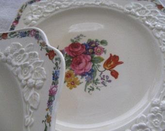 Crown Ducal Gainsborough Pattern Square Embossed Plates Vintage Pair