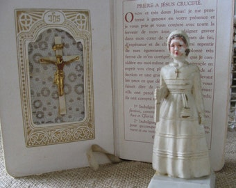 French Child Celluloid Bible and Holy Communion Cake Topper
