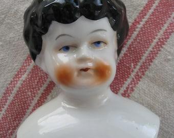 Vintage GERMAN  China Shoulder Doll Head