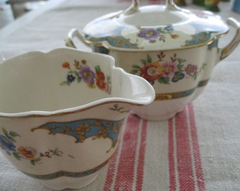 English Creamer Sugar Bowl Set  Johnson Bros 1930s Vintage