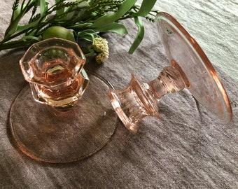 Pair Pink Depression Glass Candleholders Vintage Pretties