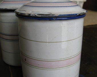 White and Pink French Enamelware Canister Petite Size