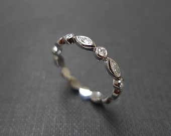 Marquise Rings Diamond Wedding Band Bezel Setting Engagement ring Women jewelry Custom Made Jewellery Round Diamond Ring in 14K White Gold