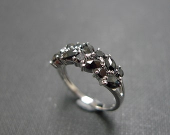 Marquise Black Diamond Wedding Ring in 14K White Gold, Diamond Wedding Band, Diamond Engagement Ring, Black Diamond Ring, Marquise Ring