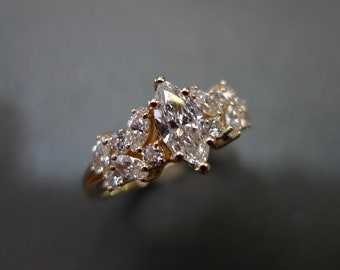 0.30ct Marquise Cut Diamond Unique Engagement Ring in 14K Yellow Gold