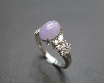 Oval Shape Purple Jade Engagement Ring with marquise cut diamonds and round brilliant cut diamonds in 18K White Gold