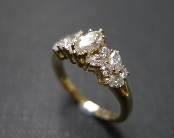Marquise Diamond Engagement Ring / Engagement Ring / Marquise Ring / 0.30ct Marquise Diamond Engagement Wedding Ring in 14K Yellow Gold