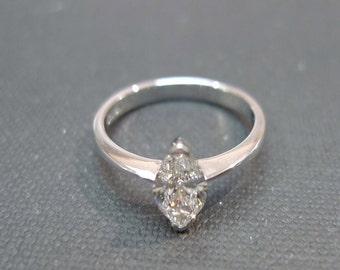 Marquise Diamond Ring / Engagement Ring / 0.60ct Marquise Diamond Engagement Ring / Diamond Band / Wedding Rings in 14K & 18K White Gold