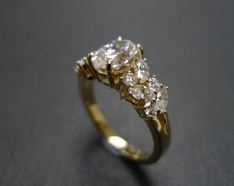 Oval diamond Engagement Ring / Marquise Engagement Ring / Diamond Wedding Ring / 0.80ct Diamond Engagement Ring / Diamond Engagement Ring