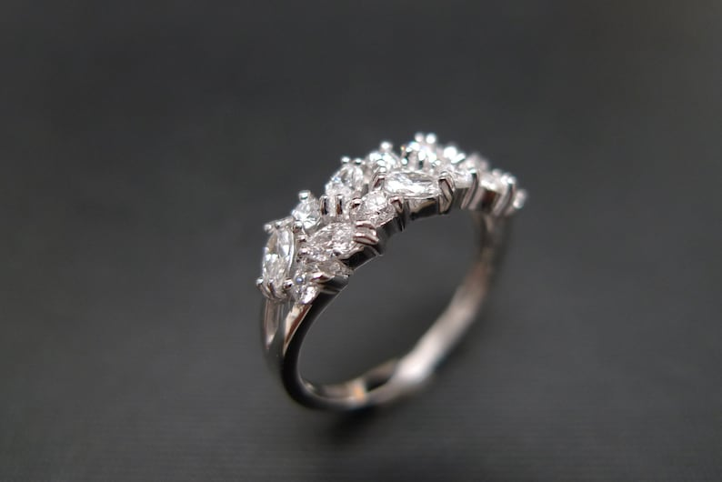 Two Rows Wedding Ring Band set with Marquise Cut Diamonds and image 0