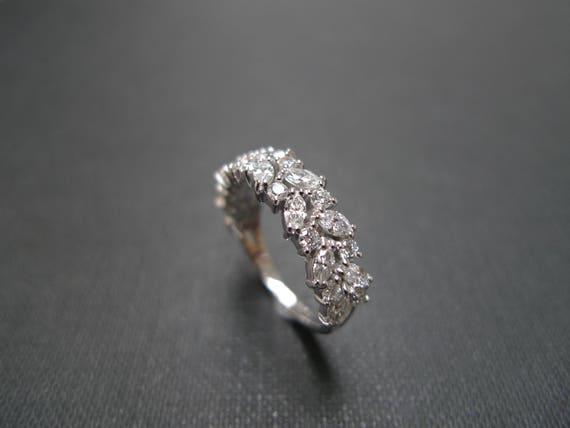 Marquise Diamond Half Eternity Wedding Band In 14k White Gold Etsy
