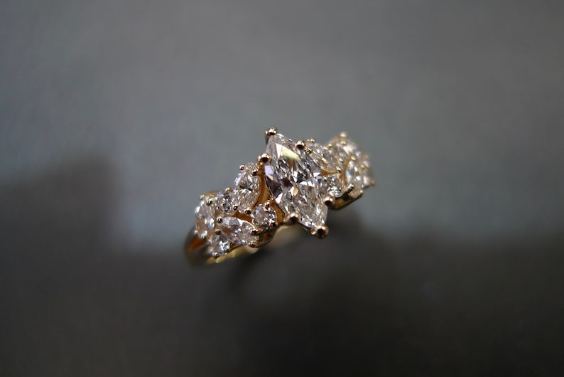0.30ct Marquise Cut Diamond Unique Engagement Ring in 14K image 0