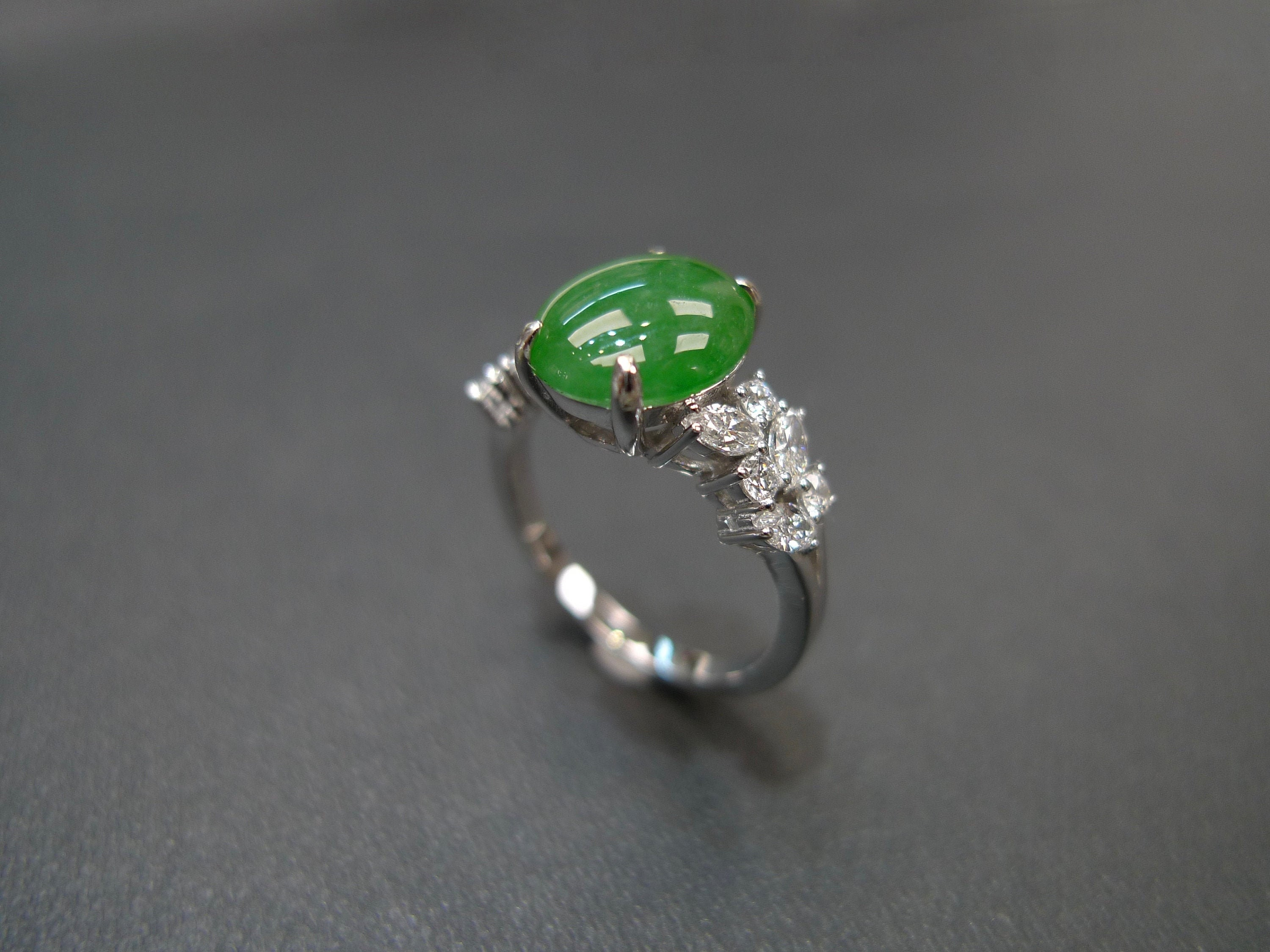 acb65d14156c2 Oval Shape Natural Green Jade with Marquise Diamond Engagement Ring in 14K  White Gold