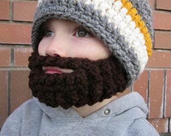 Kids ULTIMATE Bearded Beanie Grey Mix
