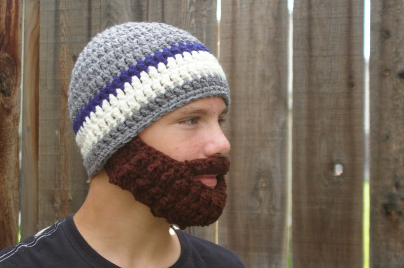 PreTeen ULTIMATE Bearded Beanie Grey/Navy Mix image 0