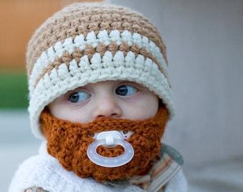 Infant ULTIMATE Warm Brown 2-Stripe Bearded Beanie