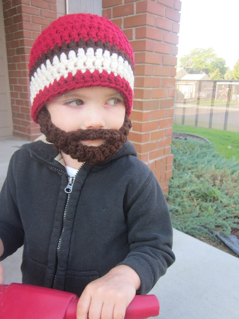 Kids ULTIMATE Bearded Beanie Burgundy Mix image 0