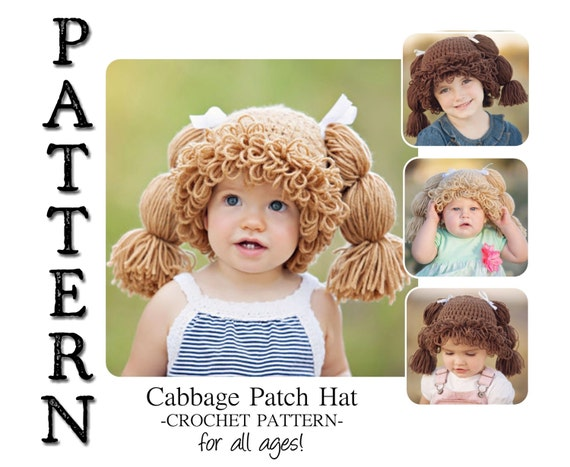 Pattern Cabbage Patch Crochet Hat For All Ages Etsy