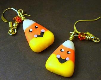 Happy Halloween Candy Corn Earrings (Dangle or Post)