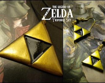 Triforce Necklace and Earring (DANGLE) Set - Legend of Zelda - Nintendo