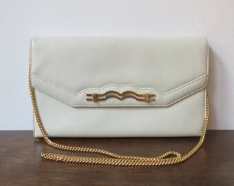 Vintage '60s Susan Gail Original White Leather Envelope Purse / Clutch w/ Long Gold Chain