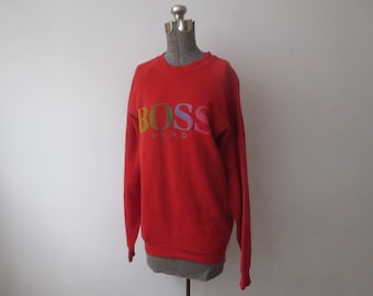 033276afd Vintage '90s Hugo Boss Bright Red Fruit of the Loom Raglan Sweatshirt w/  Killer Rainbow Fade Logo, XL