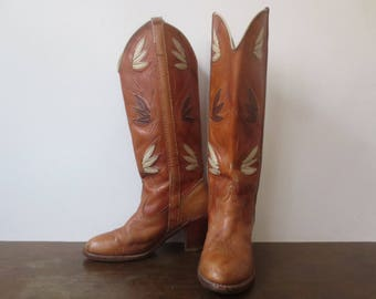 RESERVED! Vintage '60s/'70s ACME Dingo Marbled Cognac Inlay Leather Stack Heel Western Boots, Ladies US Sz 6.5M