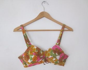dd14a83a43d0 Vintage '60s Sears Roebuck Mod Pop Floral Bra w/ Soft Quilted Lined Cups,  Fully Adjustable, Size 34B